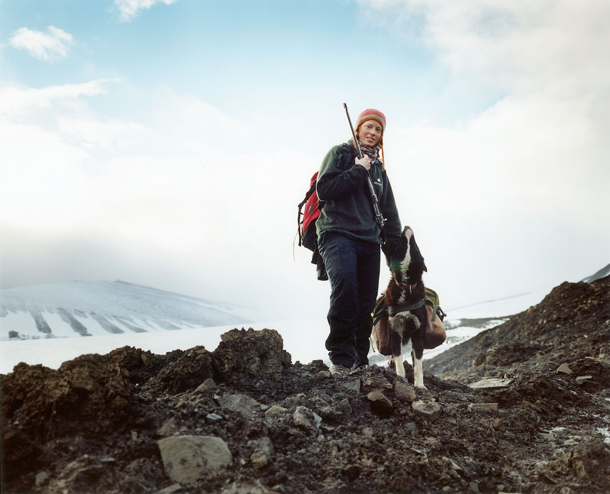 ngebjorg and Blackie the dog, Svalbard, Arctic